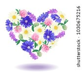 cute floral heart isolated on... | Shutterstock .eps vector #1030675216