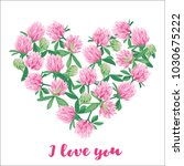 romantic card with floral heart.... | Shutterstock .eps vector #1030675222