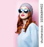 young redhead girl in beautiful ... | Shutterstock . vector #1030684402