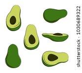 vector colorr avocado vegetable ...   Shutterstock .eps vector #1030689322
