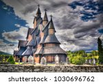 heddal stave church  norways... | Shutterstock . vector #1030696762