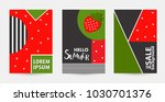 trendy strawberry pattern... | Shutterstock .eps vector #1030701376