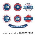 100 years anniversary badge... | Shutterstock .eps vector #1030702732