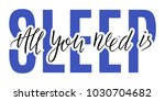 all you need is sleep lettering.... | Shutterstock .eps vector #1030704682
