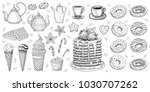 bakery pastry sweets desserts... | Shutterstock .eps vector #1030707262