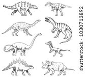 dinosaurs set  triceratops ... | Shutterstock .eps vector #1030713892