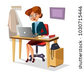 businesswoman in office vector... | Shutterstock .eps vector #1030715446