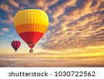 colorful hot air balloons... | Shutterstock . vector #1030722562