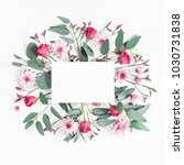 Stock photo flowers composition paper blank various pink flowers and eucalyptus branches on white background 1030731838