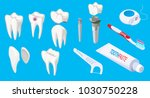 isometric dental elements set...   Shutterstock .eps vector #1030750228