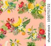 seamless tropical fruits... | Shutterstock .eps vector #1030751722
