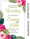 tropical wedding invitation... | Shutterstock .eps vector #1030752172