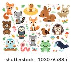 100  vector woodland animals... | Shutterstock .eps vector #1030765885