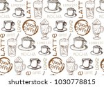 hand drawn doodle coffee pattern | Shutterstock .eps vector #1030778815