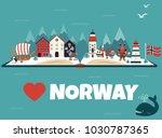 set of norway landmarks.... | Shutterstock .eps vector #1030787365