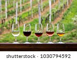 glasses with wine. red  pink ... | Shutterstock . vector #1030794592