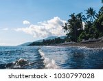 ocean coast with pebble beach ... | Shutterstock . vector #1030797028