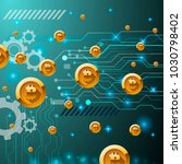 web banner with golden bitcoin... | Shutterstock . vector #1030798402