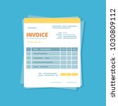 invoice icon isolated on a blue ... | Shutterstock . vector #1030809112