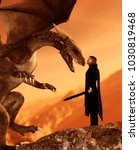 knight and the dragon 3d art... | Shutterstock . vector #1030819468