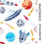 watercolor cutepattern  space... | Shutterstock . vector #1030822948