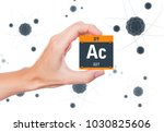 Small photo of Actinium element symbol handheld and atoms floating in background
