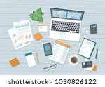 business workplace with forms... | Shutterstock .eps vector #1030826122