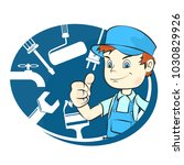 repairman with tool... | Shutterstock .eps vector #1030829926