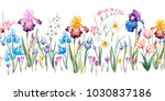 watercolor floral spring... | Shutterstock . vector #1030837186