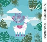 set of cute lamas  floral... | Shutterstock .eps vector #1030838872