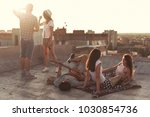 young people chilling out and... | Shutterstock . vector #1030854736