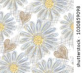 seamless pattern with camomile... | Shutterstock .eps vector #1030859098