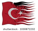 a wavy and grunged turkey flag... | Shutterstock .eps vector #1030872232