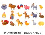 farm animals set  male farmer ... | Shutterstock .eps vector #1030877878