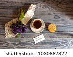a cup with morning  brewed... | Shutterstock . vector #1030882822
