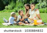 cheerful family of four on... | Shutterstock . vector #1030884832