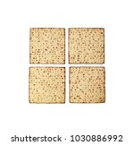 Small photo of Matzah isolated on white, jewish traditional Passover bread, top view. Pesach celebration symbol.