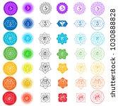 vector symbol set of chakras.... | Shutterstock .eps vector #1030888828