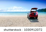 summer car with suitcase and... | Shutterstock . vector #1030912072