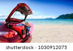 summer car with suitcase and... | Shutterstock . vector #1030912075