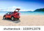 summer car with suitcase and... | Shutterstock . vector #1030912078