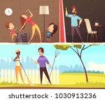 neighbors talking near fence... | Shutterstock .eps vector #1030913236