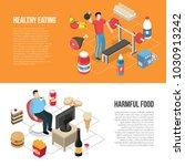 healthy diet and exercising vs... | Shutterstock .eps vector #1030913242