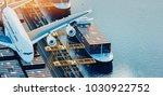 plane trucks are flying towards ... | Shutterstock . vector #1030922752