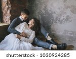 young bride in tender lace... | Shutterstock . vector #1030924285