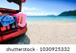 summer time and red car on... | Shutterstock . vector #1030925332