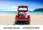summer time and red car on... | Shutterstock . vector #1030925365