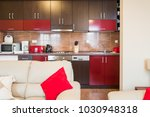 modern kitchen interior and... | Shutterstock . vector #1030948318