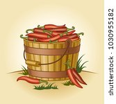 retro bucket of chili peppers | Shutterstock . vector #1030955182