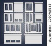 pvc window. rolling shutters.... | Shutterstock . vector #1030965868